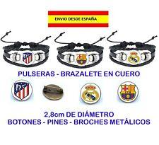 PULSERA BRAZALETE PINES BROCHES BOTONES FÚTBOL REAL MADRID ATLÉTICO BARSA UNISEX