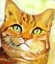Original oil painting animal CAT feline tabby ginger orange impressionist art