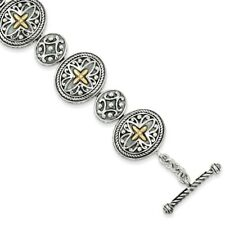 """8"""" Toggle Bracelet .925 Sterling Silver 14K Gold Accent Antiqued Shey Couture"""