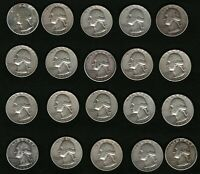 Set of 20 American Washington Silver Quarters Coins: 1942, 1956, 1957, 1958