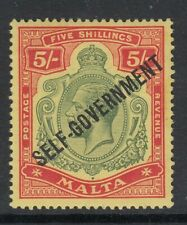 MALTA 1922 KGV SG113 5s Green and Red/Yellow SELF-GOVERNMENT LHM Cat £60