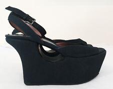 ALAÏA *Vintage* Black Canvas Platform Covered Wedge Heels -US Shoe Size 36.5