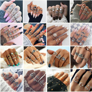 Women Silver/Gold Boho Stack Plain Above Knuckle Ring Midi Finger Ring Gifts