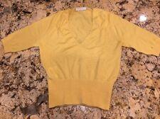 Prada Woman's Yellow V Neck Cashmere / Silk Sweater Shirt Size 38