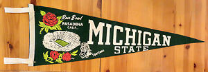 SCARCE! 1966 ROSE BOWL FELT FOOTBALL PENNANT-MICHIGAN STATE VS. UCLA