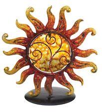 Fiery Sun Glass Metal Tea Light Candle Holder NEW yellow orange votive bright