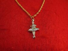 """14KT GOLD EP BALLERINA DANCER TWO SIDED  PENDANT CHARM WITH 16"""" ROPE CHAIN -303"""