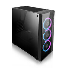 Black Tech Acrylic Panel ATX Mid Tower Computer Gaming Case with aigo C3 RGB Kit
