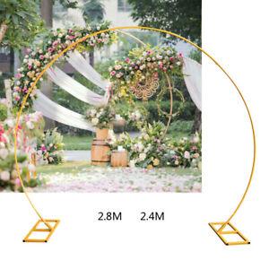 Wedding Round Archway Backdrop Stand Golden Arch Frame Flower Balloon Decor 2.4m