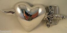 Glossy Chrome Dagger Through The Heart Tattoo Style Belt Buckle fix to own belt
