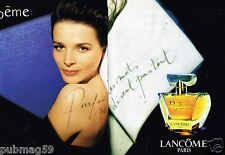 Publicité Advertising 1996 (2 pages) Parfum Poeme de Lancome Juliette Binoche