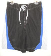 Speedo Board Shorts Swim Trunks Swimming Black Gray Blue Mesh Lined Men Sz M