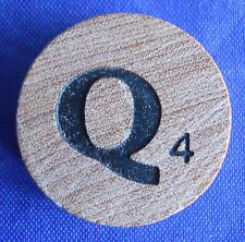 WordSearch Pressman Single Round Wood Letter Q Tile Replacement Game Piece 1988