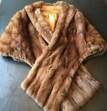 Vintage Fur Mink Dark Brown Shawl Stole Wrap Shrug Fabulous Wedding Bride