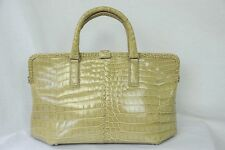 BOTTEGA VENETA Crocodile Leather Large Bag Framed Handbag Zig-Zag Tote Purse