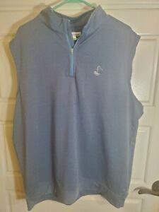 Peter Millar Men's Crown Sport 1/4 Zip Vest Blue Golf Fashion XL