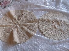 "2 Hand Crocheted Doilies - Ecru - Tightly Knit - 11"" & 13""- Clean Never Used"