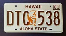 Hawaii KING KAMEHAMEHA ALOHA STATE 1981HI Vintage Classic Llicense Plate DTC 538