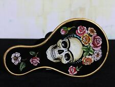 Day of the Dead Hand Mirror Frida Kahlo Skull Painting on Glass Hand Made Peru