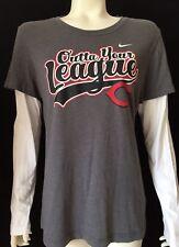 Nike Cincinnati Reds Womens Large Long sleeve Tee shirt Gray White Twofer BBall
