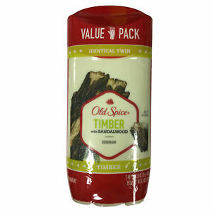 New Old Spice Men's Deodorant Timber With Sandalwood Twin Pack 3oz ea