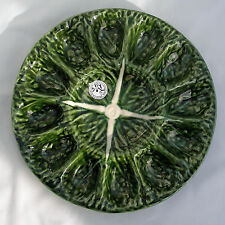 OLFAIRE MAJOLICA~POTTERY FROM PORTUGAL ~ GREEN CABBAGE DEVILLED-EGG (12)  PLATE