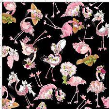 Loralie Flamingo Fancy Wearing Hats Flowers Toss Black Cotton Fabric By The Yard