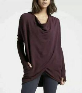 New! Athleta Purana Wrap Sweatshirt Spiced Cabernet Size Large #486073