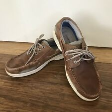 🌟 JOHNSTON AND MURPHY men's Brown Leather Boater Boat Shoes Loafers Sz 9.5