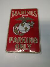 METAL PARKING SIGN USMC MARINES PARKING ONLY LOGO EMBOSSED MADE IN USA BRAND NEW