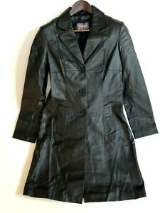 Wilsons Leather Button Down Genuine Leather Trench Coat Ladies Size S