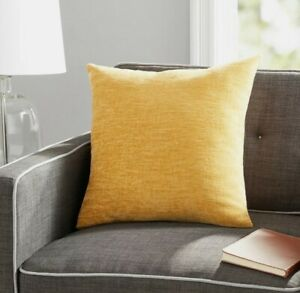 "Mainstays, Chenille Decorative Soft Throw Pillow, 18"" x 18"", Yellow, 2 Pack"