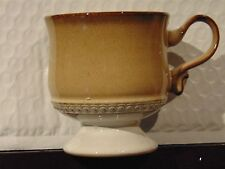 Denby Seville Brown Footed Coffee Cup Rim Circles Vtg 70s English