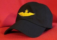 Continental Airlines Pilot First Officer Wings ball cap, BLACK, low-profile hat