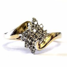 10k yellow gold .22ct women's diamond cluster ring 2.9g estate vintage antique
