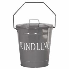 Kindling Bucket With Lid Grey Storage Basket Metal Hod Firelog Fuel Holder