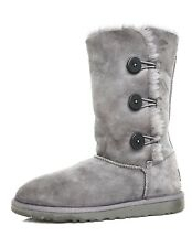 UGG Bailey Button Triplet II Suede Boot Grey Women Sz 6 4255 *