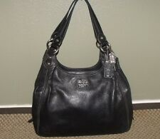 COACH Madison Maggie Black Leather Hobo Shoulder Bag Satchel Purse #14336
