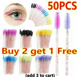 50X Glitter Eyelash Brush Disposable Lash Extension Wand Mascara Spoolie Makeup