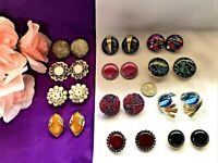 STUNNING Lot of 12 Vintage Mod Large Clip Earrings Ellen Designs & Mixed   L28