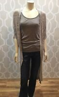 One A Beige Marl Elbow Sleeve Long Open Front Cardigan Sweater Sz M Medium Knit