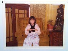Vintage Photography PHOTO CUTE FILIPINA GIRL HOLDING TEDDY BEAR ON RETRO CHAIR