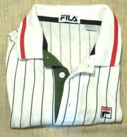 VTG 90's FILA Polo Shirt Men's SZ L Pin Striped Tennis Bjorn Borg Blue Red Green