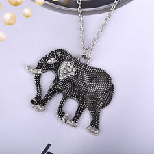 Antique Silver Long Necklace Chain Rhinestone Elephant Pendant Vintage Jewelry