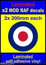 Stratificato 2x 200mm RAF Roundel l'OMS mod target SCOOTER Decalcomanie Adesivi VESPA
