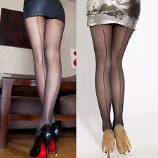 Sexy Women Sheer Transparent Line Back Seam Tights Stockings Pantyhose Breathabl