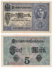 GERMANY 5 Mark 1917 P-56a 7 Digit Serial AUNC Almost Uncirculated