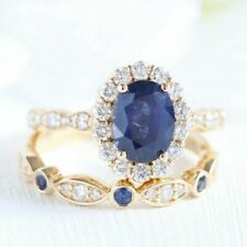 3Ct Oval Cut Blue Sapphire Bridal Set Engagement Ring Solid 14K Yellow Gold Over