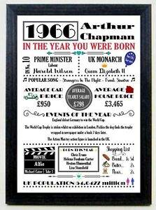 THE YEAR YOU WERE BORN Personalised Birthday Keepsake Gift A4 Print with Frame