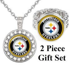 Spec Pittsburgh Steelers Gift Set 925 Sterling Silver Necklace With Ring D18D2